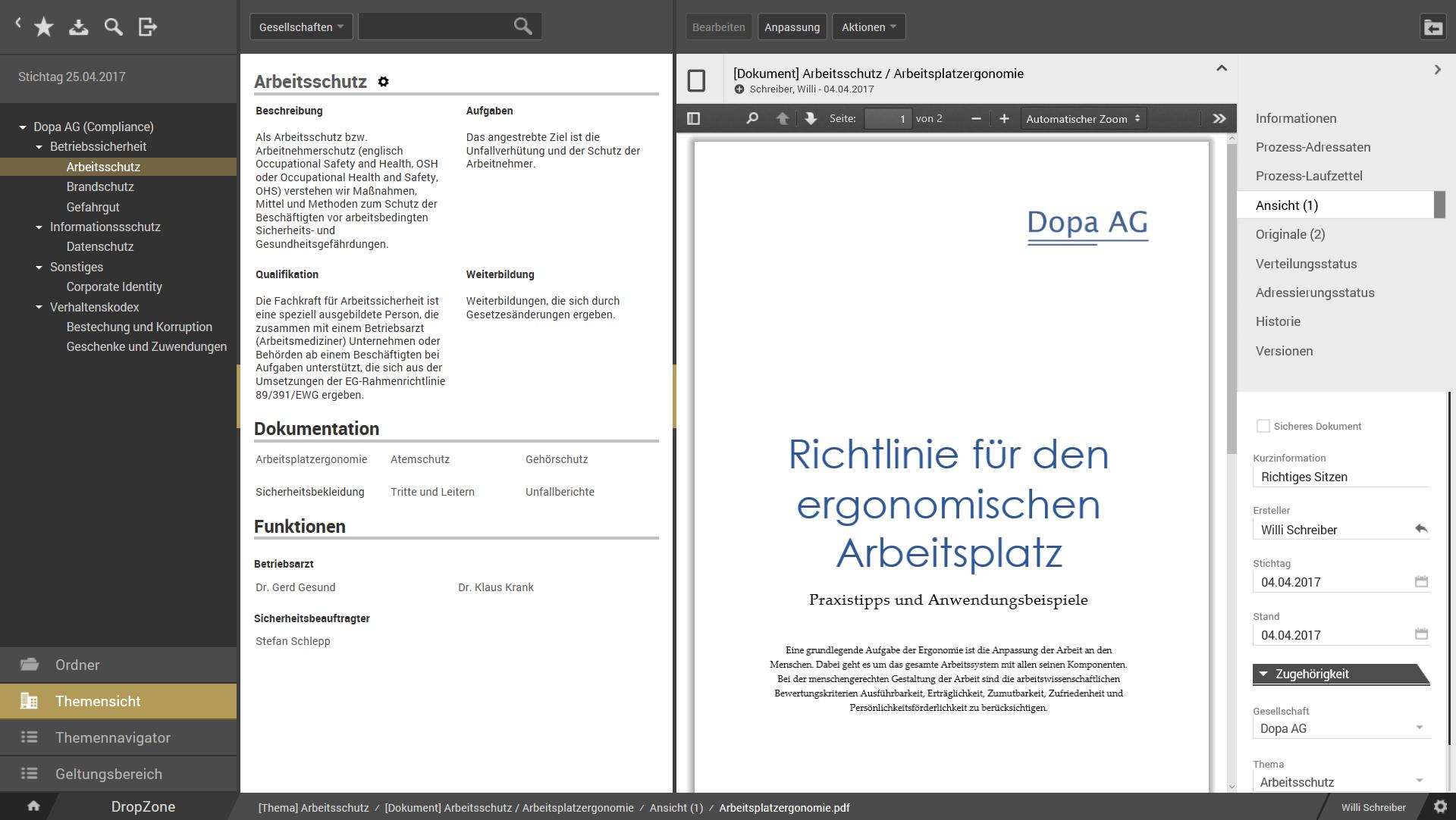 otris compliance Compliance Software, Richtlinienmanagement - Bildschirmabzug