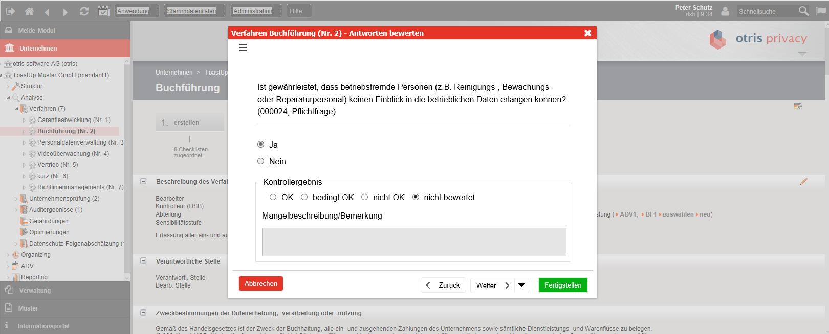 otris privacy - Bewertung der Antworten durch den Datenschutzbeauftragten