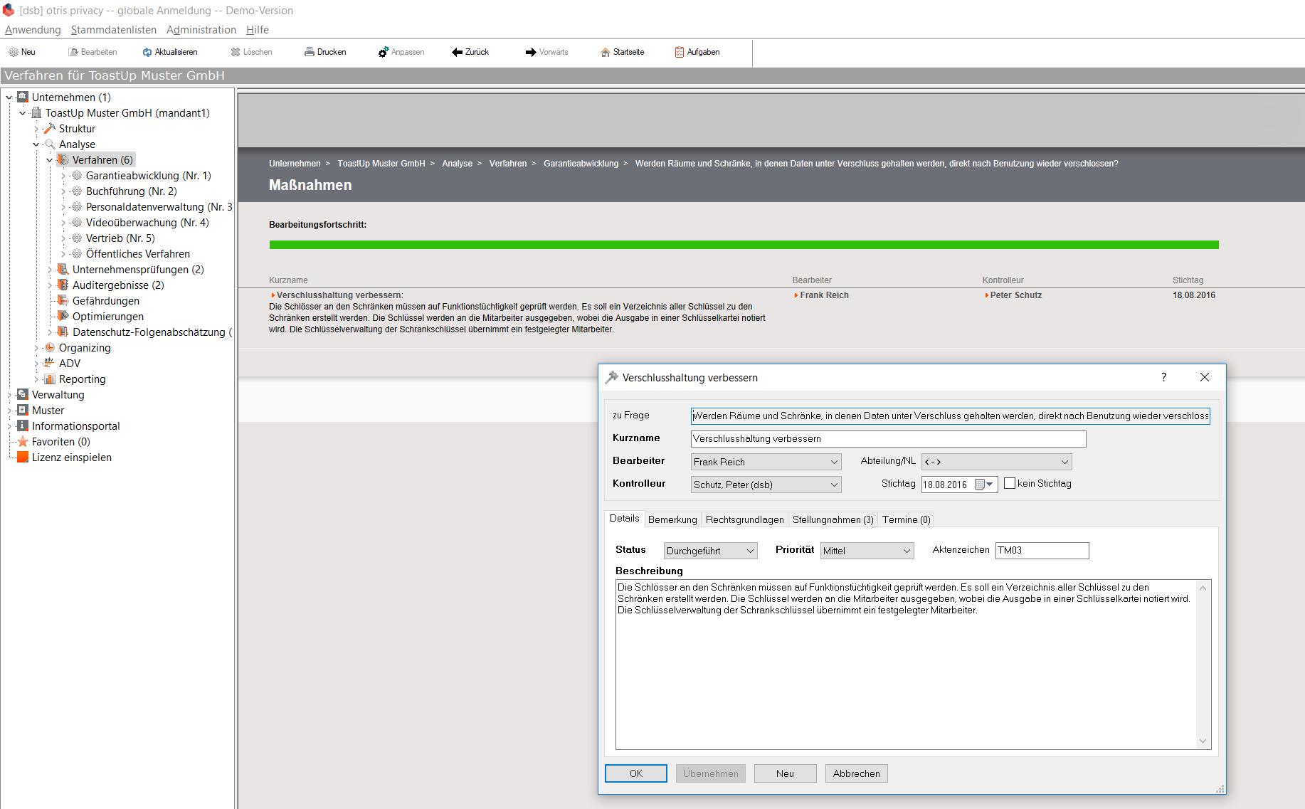 otris privacy - Datenschutzmanagement - Mapnahmen-Kontrolle