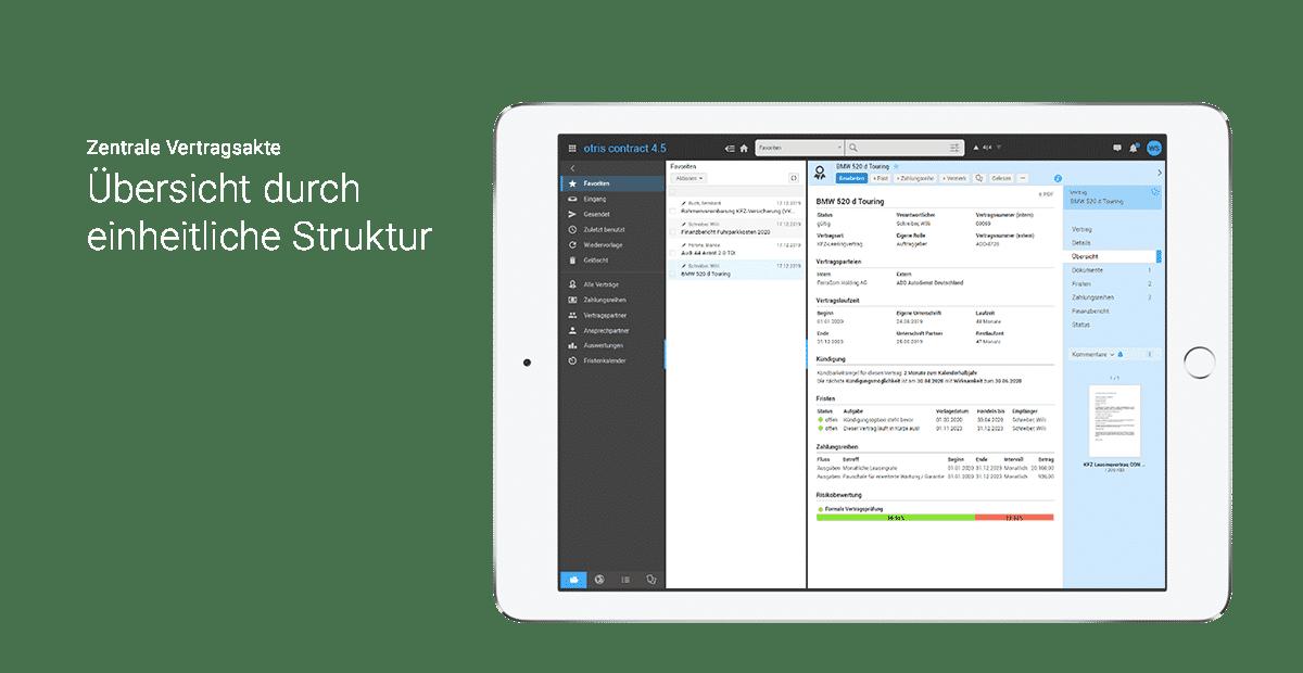 Übersichtliches Dashboard - otris-Vertragsmanagement